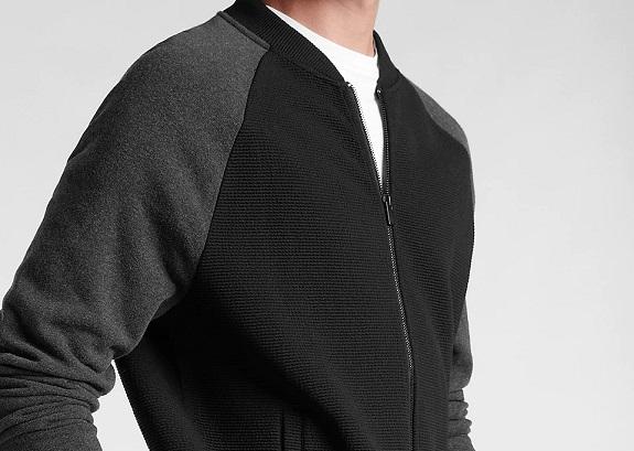EXPRESS Color Block Geo Quilted Bomber Sweatshirt